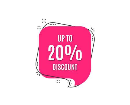 Up to 20% Discount. Sale offer price sign. Special offer symbol. Save 20 percentages. Speech bubble tag. Trendy graphic design element. Vector Ilustração