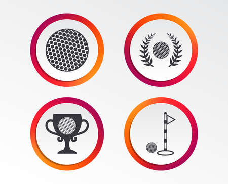Golf ball icons. Laurel wreath winner award cup sign. Luxury sport symbol. Infographic design buttons. Circle templates.