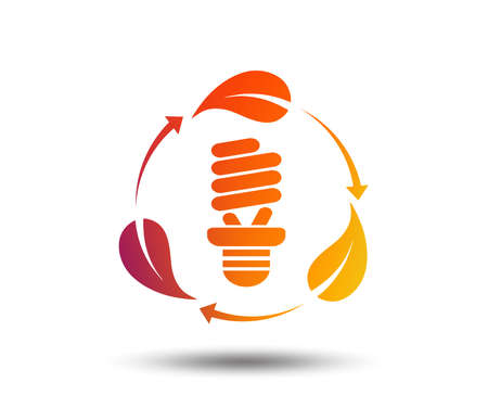Fluorescent lamp bulb with leaves sign icon. Energy saving. Economy symbol. Blurred gradient design element. Vivid graphic flat icon. Vector