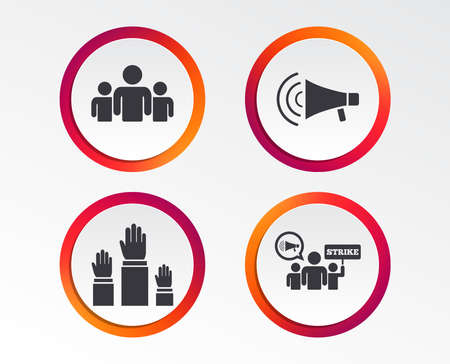 Strike group of people icon. Megaphone loudspeaker sign. Election or voting symbol. Hands raised up. Infographic design buttons. Circle templates. Illustration