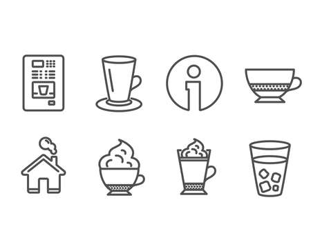 Set of Coffee vending, Teacup and Bombon coffee icons. Cappuccino cream, Ice tea signs. Tea or latte, Cafe bombon, Hot drink with whipped cream. Soda beverage.  Information and Home design elements Ilustração