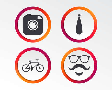 Hipster photo camera. Mustache with beard icon. Glasses and tie symbols. Bicycle sign. Infographic design buttons. Circle templates.