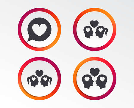 Couple love icon. Lesbian and Gay lovers signs. Romantic homosexual relationships. Speech bubble with heart symbol. Infographic design buttons. Circle templates.