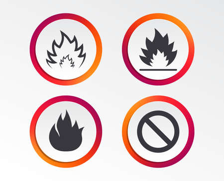 Fire flame icons. Prohibition stop sign symbol. Infographic design buttons. Circle templates.
