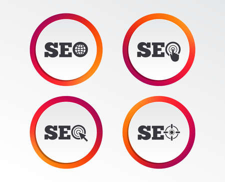 SEO icons. Search Engine Optimization symbols. World globe and mouse or hand cursor pointer signs. Infographic design buttons. Circle templates.