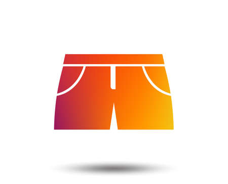 Womens sport shorts sign icon. Clothing symbol. Blurred gradient design element. Vivid graphic flat icon.