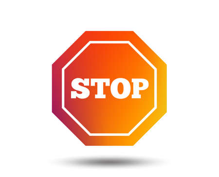 Traffic stop sign icon. Caution symbol. Blurred gradient design element. Vivid graphic flat icon. Vettoriali