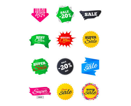 Sale banners. Best offers, discounts tags. Market sale Clearance special offers. Shopping sale stars templates. Vector illustration Ilustracja