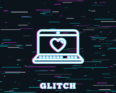 Glitch effect. Love dating line icon. Heart in Notebook sign. Valentines day symbol. Background with colored lines. Illustration