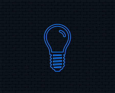 Neon light. Light bulb icon. Lamp E14 screw socket symbol. Led light sign. Glowing graphic design. Brick wall.