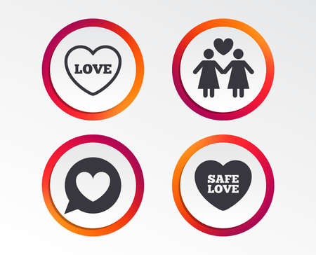 Lesbians couple sign. Speech bubble with heart icon. Female love female. Heart symbol. Infographic design buttons. Circle templates.