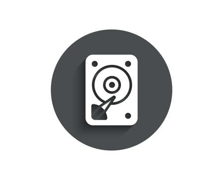 HDD icon. Hard disk storage sign. Hard drive memory symbol. Circle flat button with shadow.