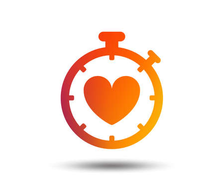 Heart Timer sign icon. Stopwatch symbol. Heartbeat palpitation. Blurred gradient design element. Vivid graphic flat icon.