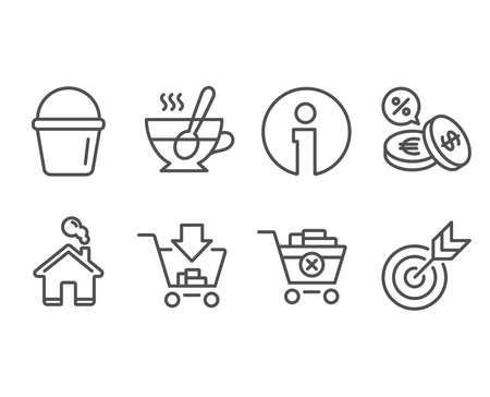 Set of Bucket, Shopping and Remove purchase icons. Currency exchange, Tea cup and Target signs. Washing equipment, Add to cart, Delete from cart. Euro and usd, Coffee with spoon, Targeting.