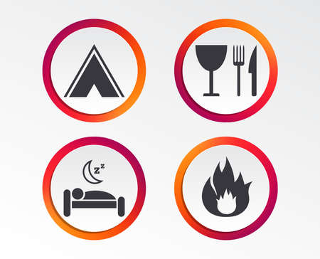 Food, sleep, camping tent and fire icons. Knife, fork and wineglass. Hotel or bed and breakfast. Road signs. Infographic design buttons. Circle templates. Vector