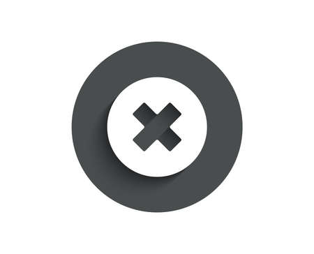 Delete simple icon. Remove sign. Cancel or Close symbol. Circle flat button with shadow. Vector