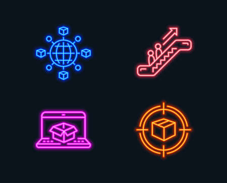 Neon lights. Set of Logistics network, Online delivery and Escalator icons. Parcel tracking sign. International tracking, Elevator, Box in target.  Glowing graphic designs. Vector Illustration