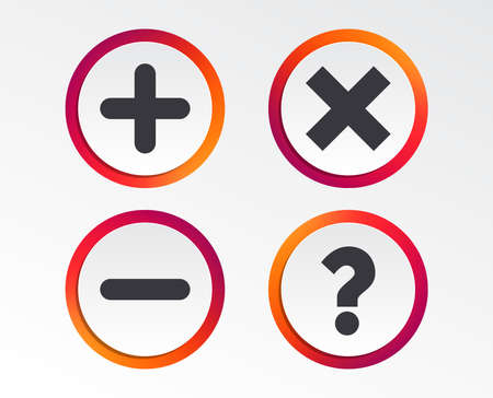 Plus and minus icons. Delete and question FAQ mark signs. Enlarge zoom symbol. Infographic design buttons. Circle templates. Vector  イラスト・ベクター素材