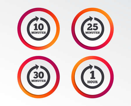 Every 10, 25, 30 minutes and 1 hour icons. Full rotation arrow symbols. Iterative process signs. Infographic design buttons. Circle templates. Vector