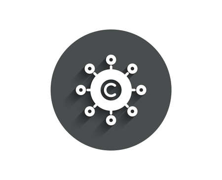 Copywriting network simple icon. Copyright sign. Content networking symbol. Circle flat button with shadow. Vector