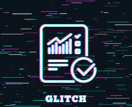 Glitch effect. Checklist document line icon. Analysis Chart or Sales growth report sign. Statistics data symbol. Background with colored lines. Vector Reklamní fotografie - 100521542