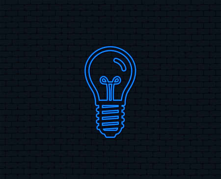 Neon light. Light bulb icon. Lamp E14 screw socket symbol. Illumination sign. Glowing graphic design. Brick wall. Vector Illustration