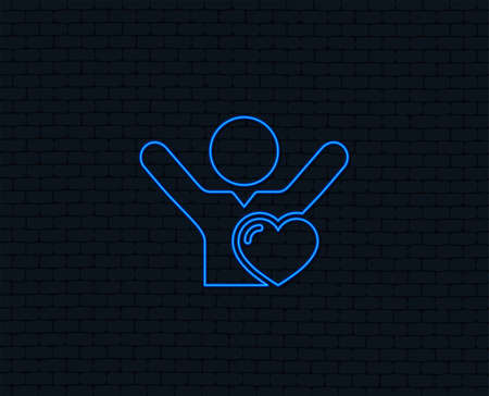 Neon light. Fans love icon. Man raised hands up sign. Glowing graphic design. Brick wall. Vector