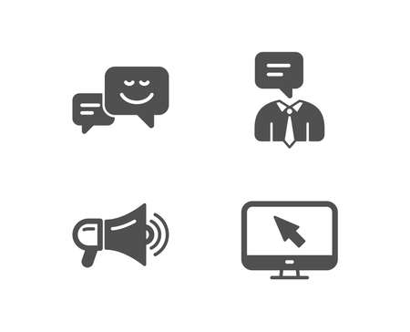 Set of Support service, Megaphone and Happy emotion icons. Internet sign. Human talking, Advertisement, Web chat. Monitor with cursor.  Quality design elements. Classic style. Vector