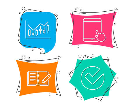 Set of Financial diagram, Feedback and Tablet pc icons. Verify sign. Candlestick chart, Book with pencil, Touchscreen gadget. Selected choice.  Flat geometric colored tags. Vivid banners. Vector