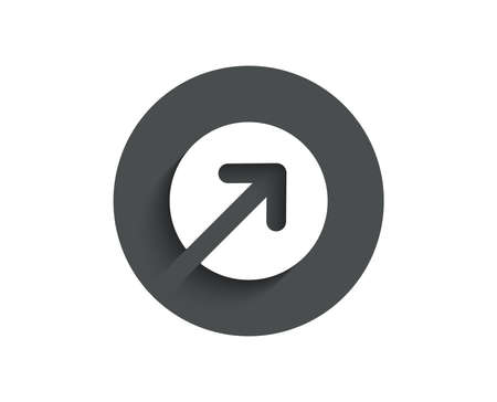 Direction arrow simple icon. Arrowhead symbol. Navigation pointer sign. Circle flat button with shadow. Vector