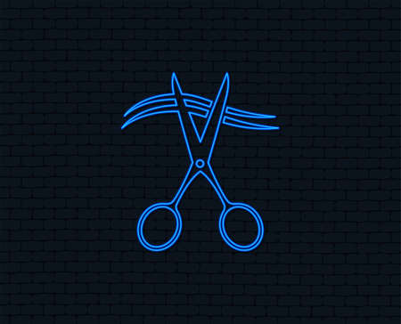 Neon light. cut hair sign icon. barbershop symbol. Glowing graphic design. Brick wall. Vector