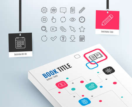 Time and Calendar line icons. Question, Chat and Pencil signs. Cogwheel, Download and Attach clip symbols. Mouse cursor, Magnifier and Shopping cart. Graph, Info and award medal. Vector Çizim