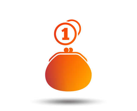 Wallet sign icon. Cash coins bag symbol. Blurred gradient design element. Vivid graphic flat icon. Vector Foto de archivo - 100522003