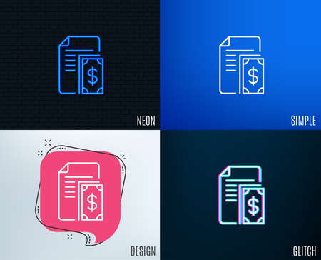Glitch, Neon effect. Payment line icon. Document with cash money symbol. Dollar currency sign. Trendy flat geometric designs. Vector