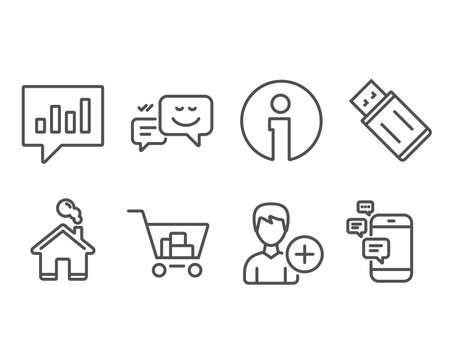 Set of Internet shopping, Analytical chat and Add person icons. Happy emotion, Usb flash and Communication signs. Cart with purchases, Communication speech bubble, Edit user data. Vector Foto de archivo - 100524110