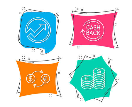 Set of Currency exchange,Cashback icons. Currency sign. Banking finance, Arrow graph, Refund. Euro and usd. Flat geometric colored tags. Vivid banners. Trendy graphic design