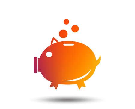 Piggy bank sign icon. Moneybox symbol. Blurred gradient design element. Vivid graphic flat icon. Vector Illustration