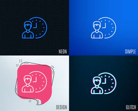 Glitch, Neon effect. Business project deadline line icon. Working hours or Time management sign. Trendy flat geometric designs. Vector Ilustracja