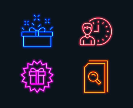 Neon lights. Set of Present box, Working hours and Surprise gift icons. Search files sign. Sale offer, Project deadline, Shopping offer. Magnifying glass.  Glowing graphic designs. Vector Illustration