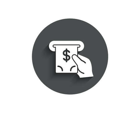 Cash money simple icon. Banking currency sign. Dollar or USD symbol. ATM service. Circle flat button with shadow. Vector Illustration