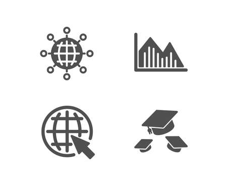 Set of Internet, International globe and Investment graph icons. Throw hats sign. World web, World networking, Investment infochart. College graduation.  Quality design elements. Classic style. Vector