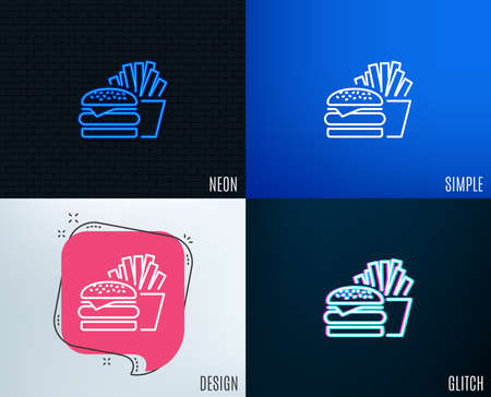 Glitch, Neon effect. Burger with fries line icon. Fast food restaurant sign. Hamburger or cheeseburger symbol. Trendy flat geometric designs. Vector Illustration