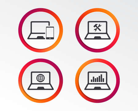 Notebook laptop pc icons. Internet globe sign. Repair fix service symbol. Monitoring graph chart. Infographic design buttons. Circle templates. Vector Illustration