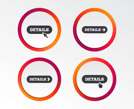 Details with arrow icon. More symbol with mouse and hand cursor pointer sign symbols. Infographic design buttons. Circle templates. Vector