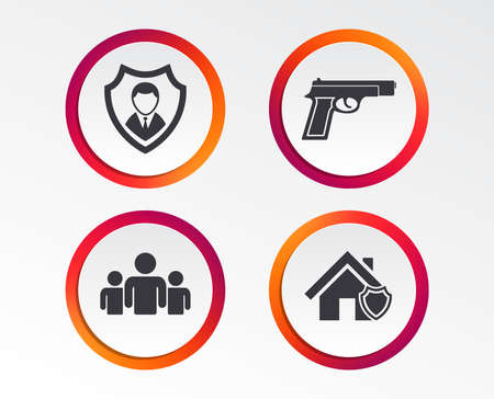 Security agency icons. Home shield protection symbols. Gun weapon sign. Group of people or Share. Infographic design buttons. Circle templates. Vector Illustration