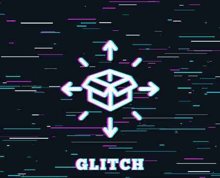 Glitch effect. Parcel delivery line icon. Logistics service sign. Tracking symbol. Background with colored lines. Vector