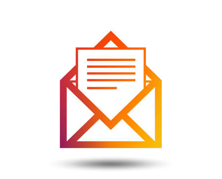 Mail icon. Envelope symbol. Message sign. Mail navigation button. Blurred gradient design element. Vivid graphic flat icon. Vector