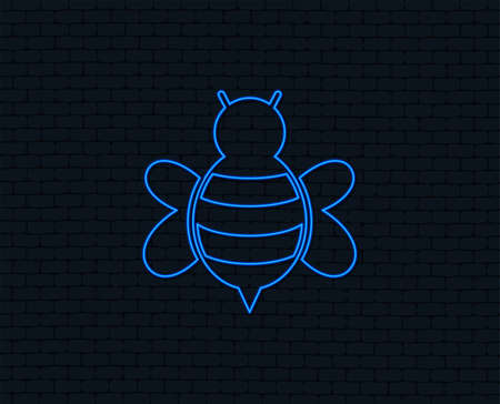 Neon light. Bee sign icon. Honeybee or apis with wings symbol. Flying insect. Glowing graphic design. Brick wall. Vector