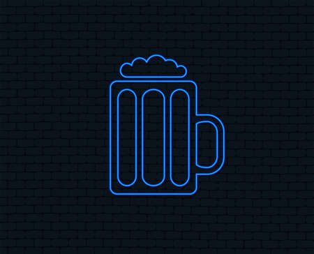 Neon light. Glass of beer sign icon. Alcohol drink symbol. Glowing graphic design. Brick wall. Vector
