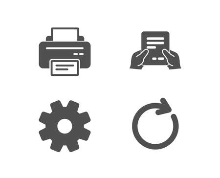 Set of Printer, Service and Receive file icons. Synchronize sign. Printing device, Cogwheel gear, Hold document. Refresh or update.  Quality design elements. Classic style. Vector Illusztráció